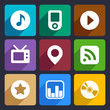 Multimedia flat icons set 1