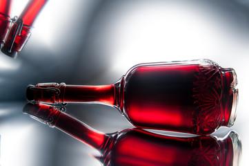 Red wine in a vintage bottle