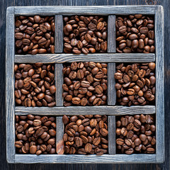 Roasted coffee beans in an old wooden tray. Сollage