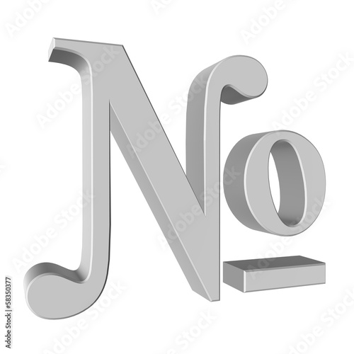 3d number symbol on white background
