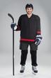 Attractive hockey player in uniform.