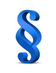 Blaues Paragraphenzeichen in 3D