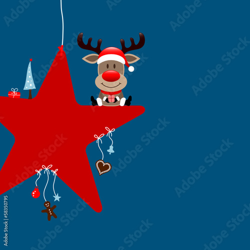Rudolph Red Star & Symbols Blue