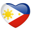 Philippines Flag Heart Glossy Button
