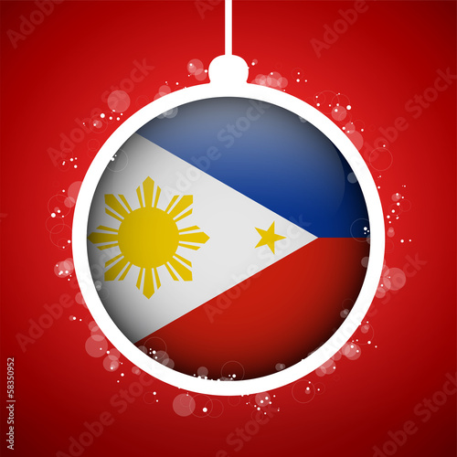 Merry Christmas Red Ball with Flag Philippines