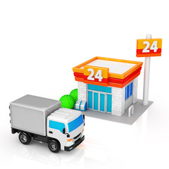 Delivery trucks and convenience stores