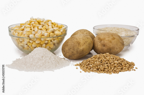 Close-up of raw potatoes with cereals