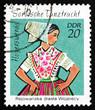 Postage stamp GDR 1971 Sorbian Dance Costume, Hoyerswerda