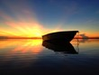 reflection on boat and sunrise