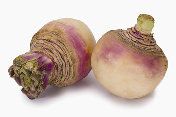 Close-up of two turnips