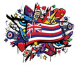 Hawaii Aloha state flag graffiti colorful pop art illustration