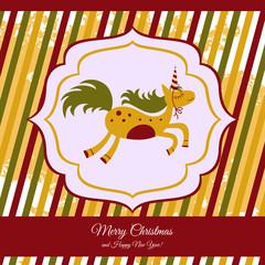 Christmas card with a cute horse