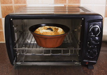 Bowl of food in a microwave oven