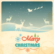 Reindeer in retro Christmas holiday background
