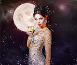 Expressive Lady with Wineglass in Golden Dress