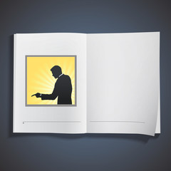 Silhouette of businessman printed on book.