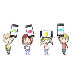 Kids holding Phones with colorful holes.