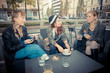 three friends woman at the bar