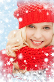teenage girl in red hat and scarf