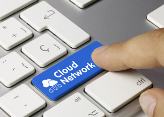 Cloud network. Keyboard finger