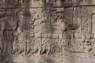 Bas-relief of Bayon Temple . Cambodia