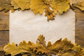 leaves and paper on wooden background
