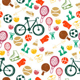 Bright seamless pattern with healthy lifestyle icons