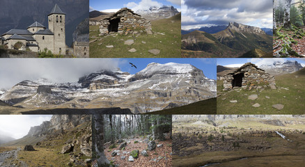 Different landscapes in the pyrenees mountains of northern Spain