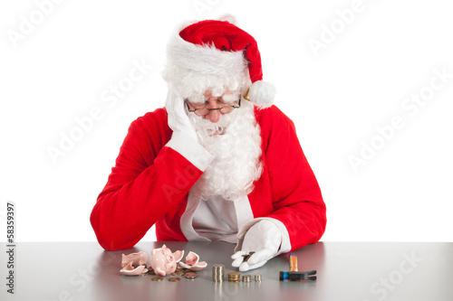 Santa counting coins Poster