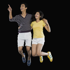 Couple jumping