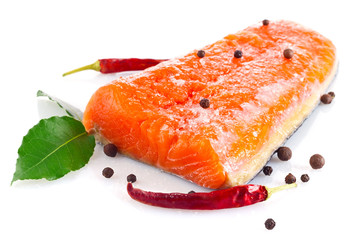 fresh salmon fillet with salt and spice isolated on white
