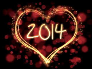 colorful new year 2014 heart
