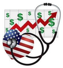 Stethoscope Heart with US Flag and Chart Vector Illustration
