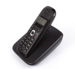 Black Cordless Phone on white background