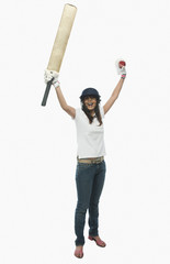 Close-up of a female cricket fan cheering