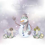 Christmas illustration with cute  snowman