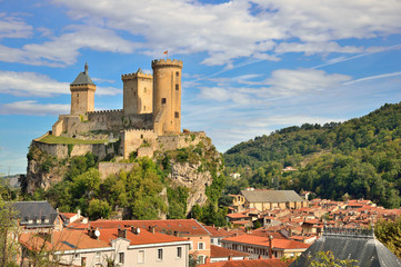 Foix castle dominating the city
