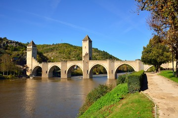 Pont Valentre, an ancient fortified bridge in Cahors