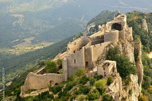 Peyrepertuse cathar castle seen from above - 58362554