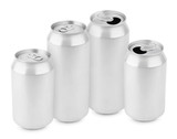 Group of aluminum cans on white isolated on white