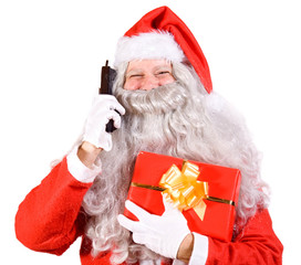 Santa Claus with telephone and Christmas box