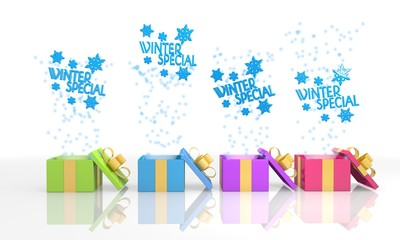 christmas present boxes with winter special icon