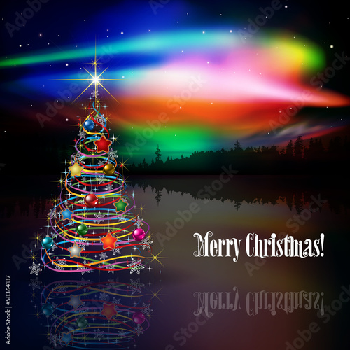 abstract greeting with Christmas tree and stars