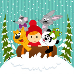 boy and animals together sledging - vector illustration