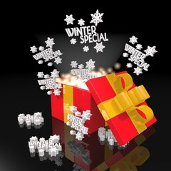 noble christmas present with winter special icon