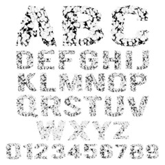 Vector set of grunge broken alphabet