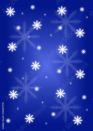 Background snowflakes on blue