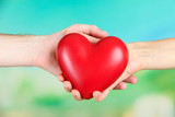 Heart in hands on nature background