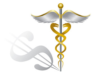 Caduceus Medical Symbol and Dollar Sign Illustration