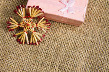 Christmas decoration over textile background